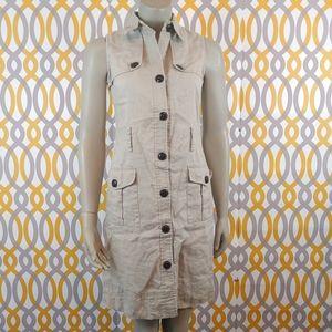 ZARA Cargo Sleeveless Linen Utility Dress Small